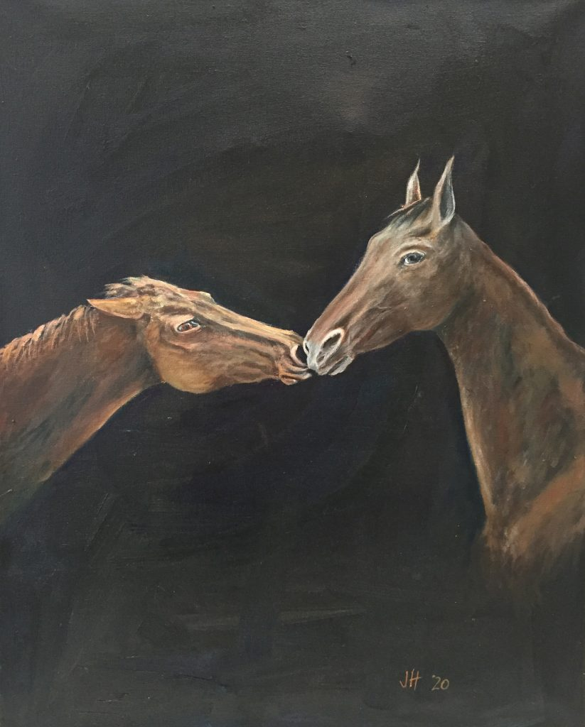 Horses Interacting - Oil on Canvas